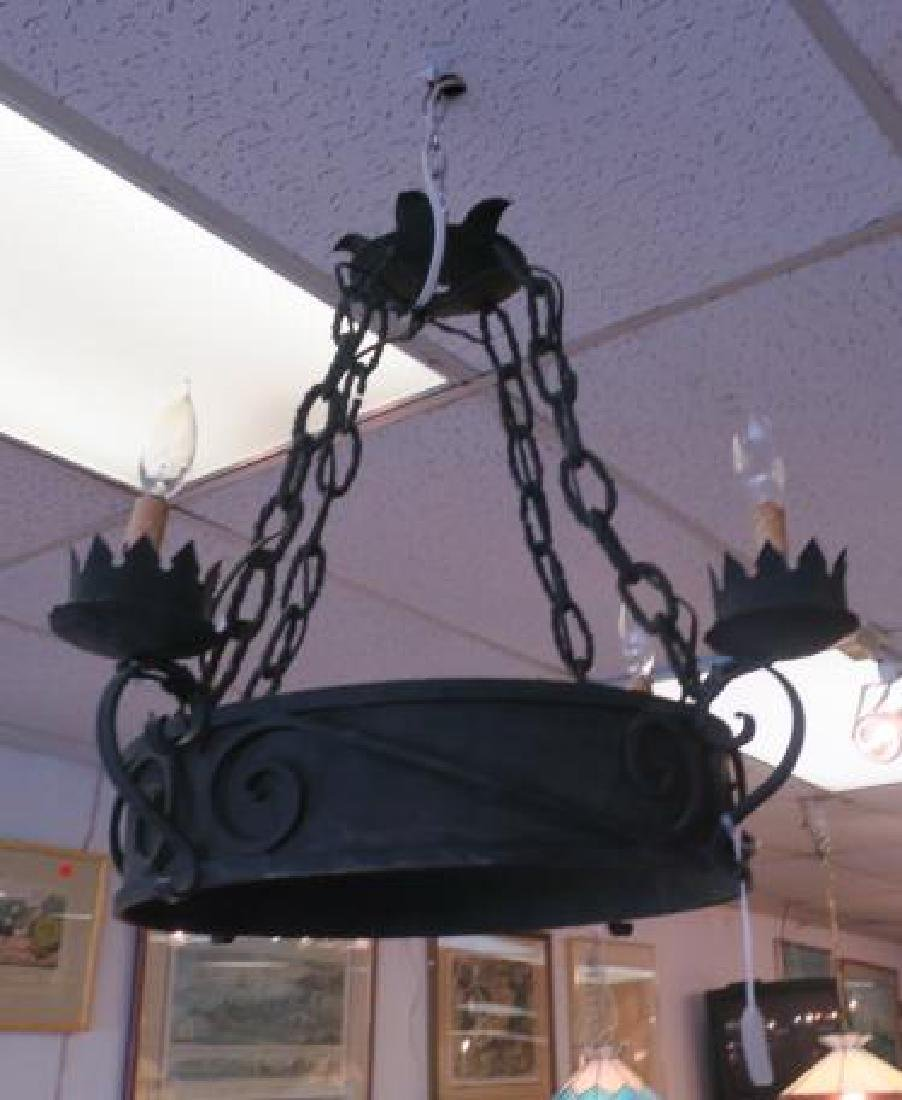 Medieval Style Forged Iron Chandelier, 4 Sockets: