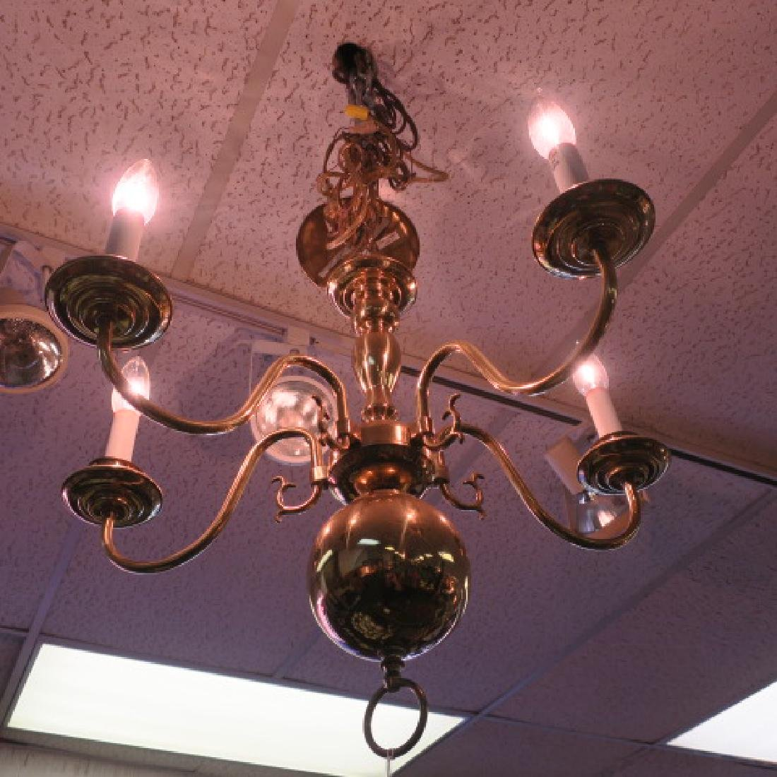 Williamsburg Style Five Arm Brass Chandelier: