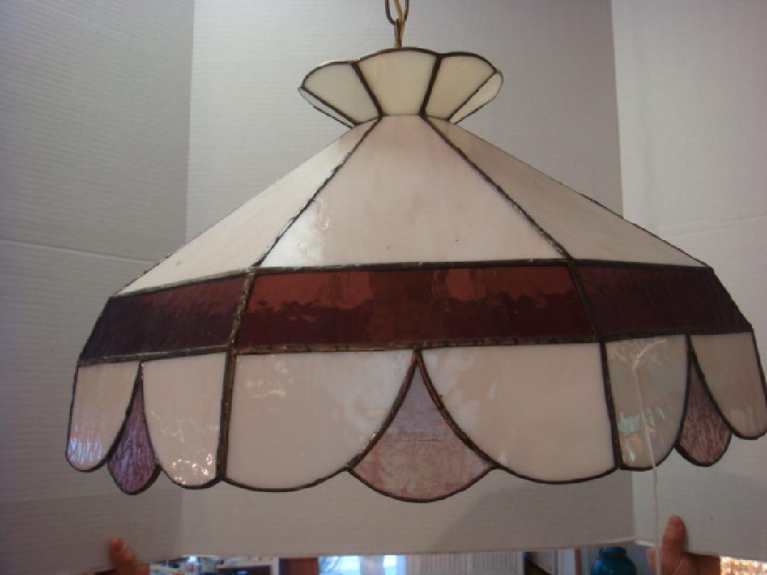 Slag Glass Hanging Lamp Off White & Rose: