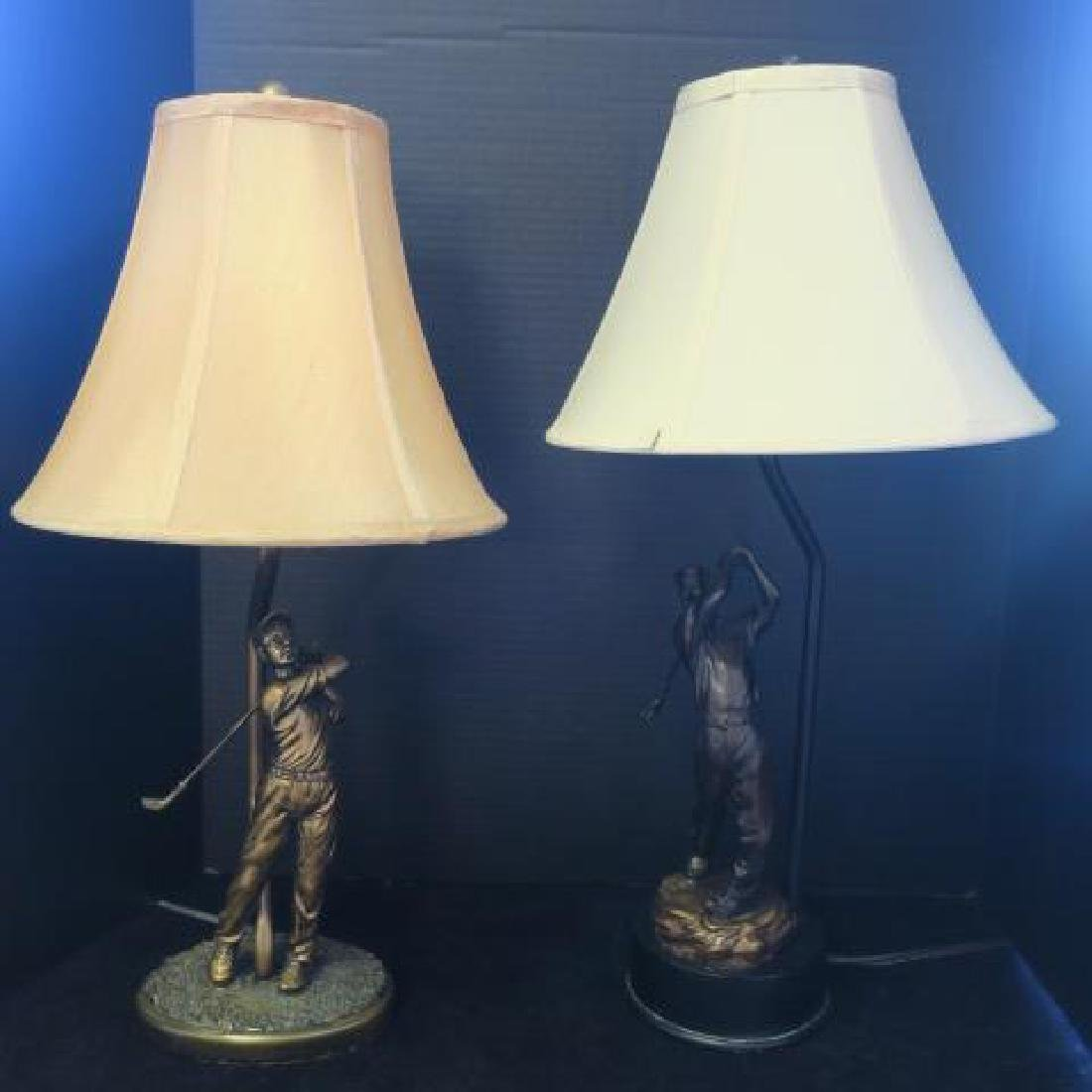 Two Men's Golfer Table Lamps with Shades: