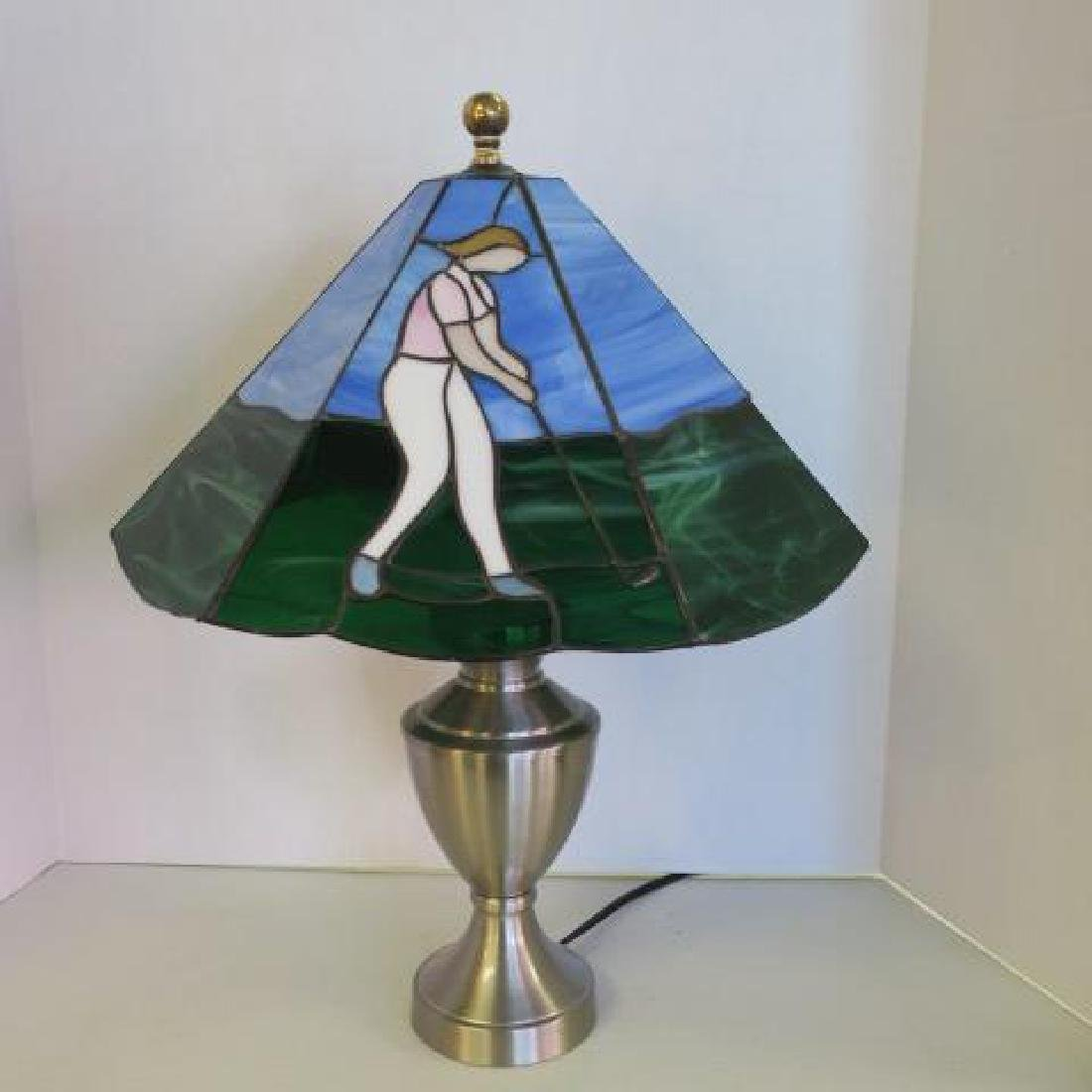 Table Lamp with Female Golfer and Glass Shade: