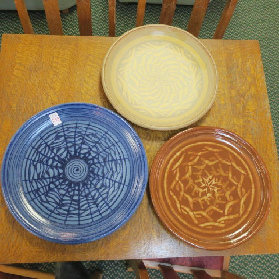 Three Hand Thrown Pottery SID VERNON Platters: