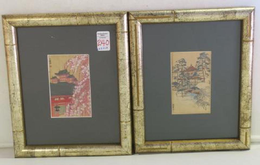 Two Signed Japanese Temple Ink Washes: