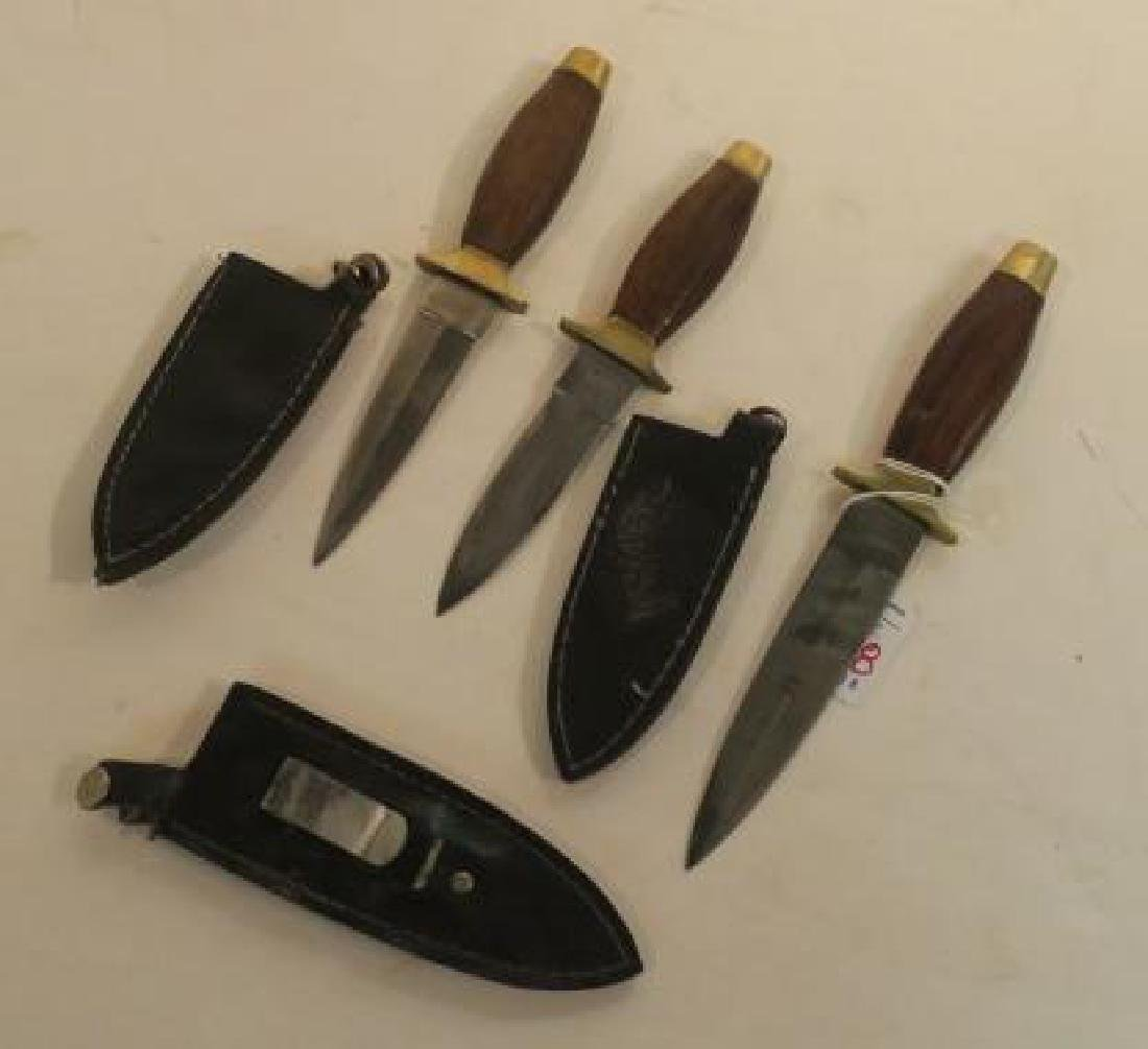 Three Stiletto Belt Fighting Knives, Leather Sheaths: