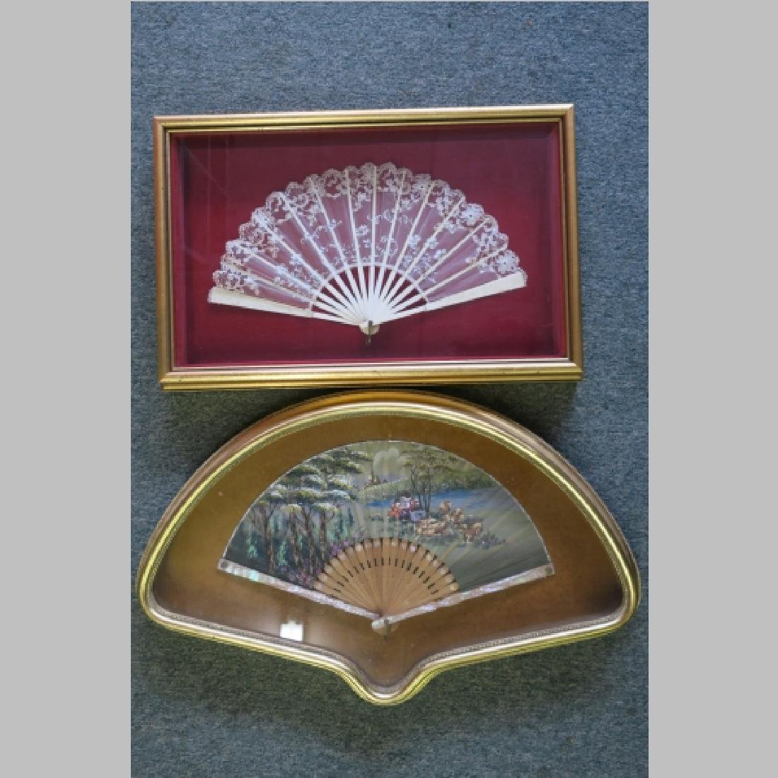 2 Vintage Hand Painted Fans in Shadow Boxes: