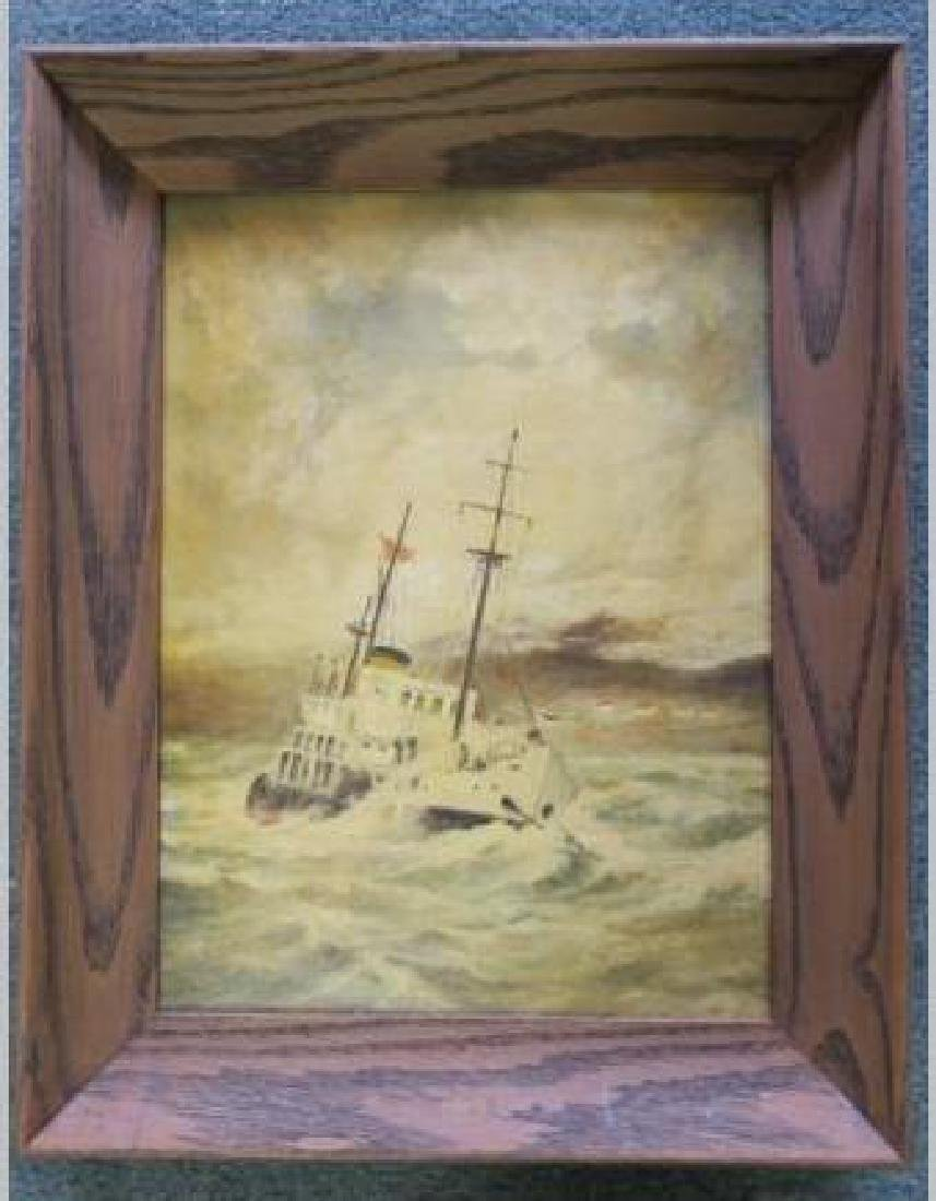 Oil on Canvas Board Seascape by VARGUS: