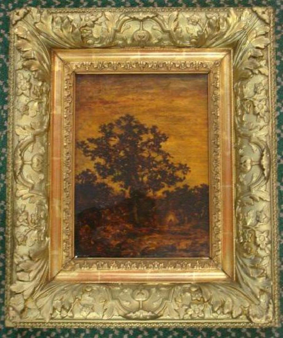 Elaborate Gold Frame with Landscape Mounted on Canvas: