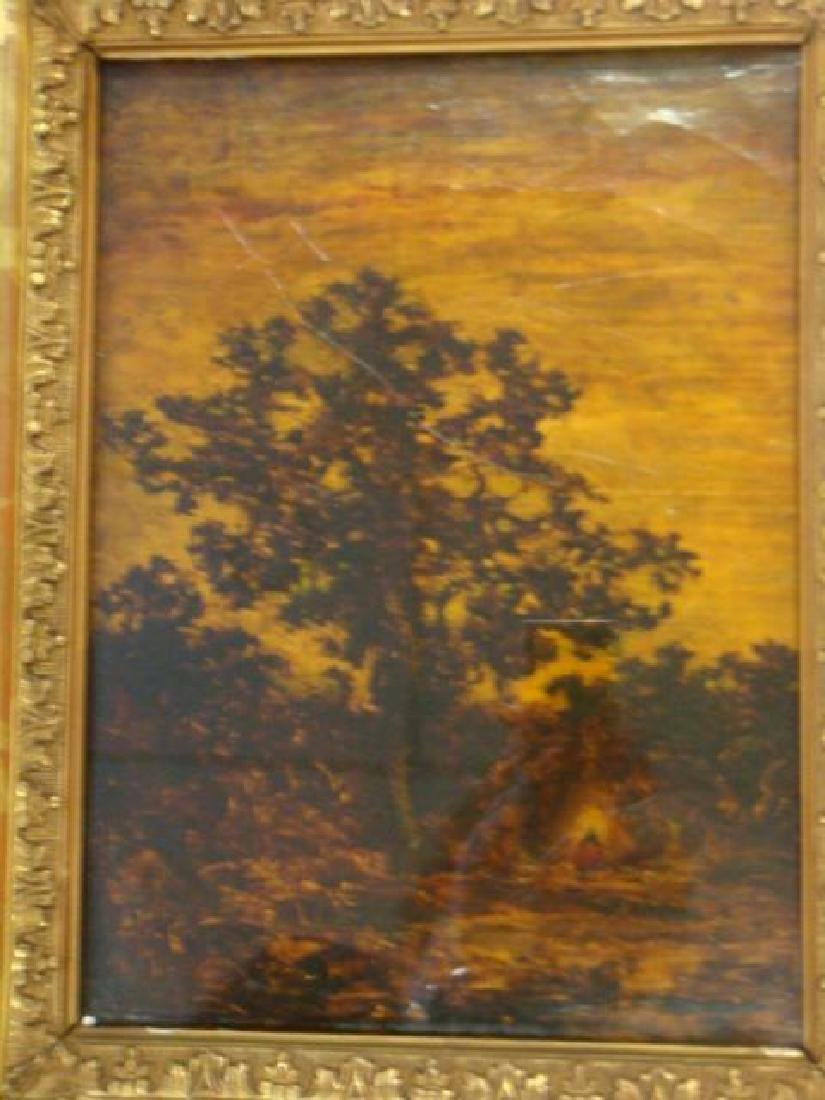 Elaborate Gold Frame with Landscape Mounted on Canvas: - 2