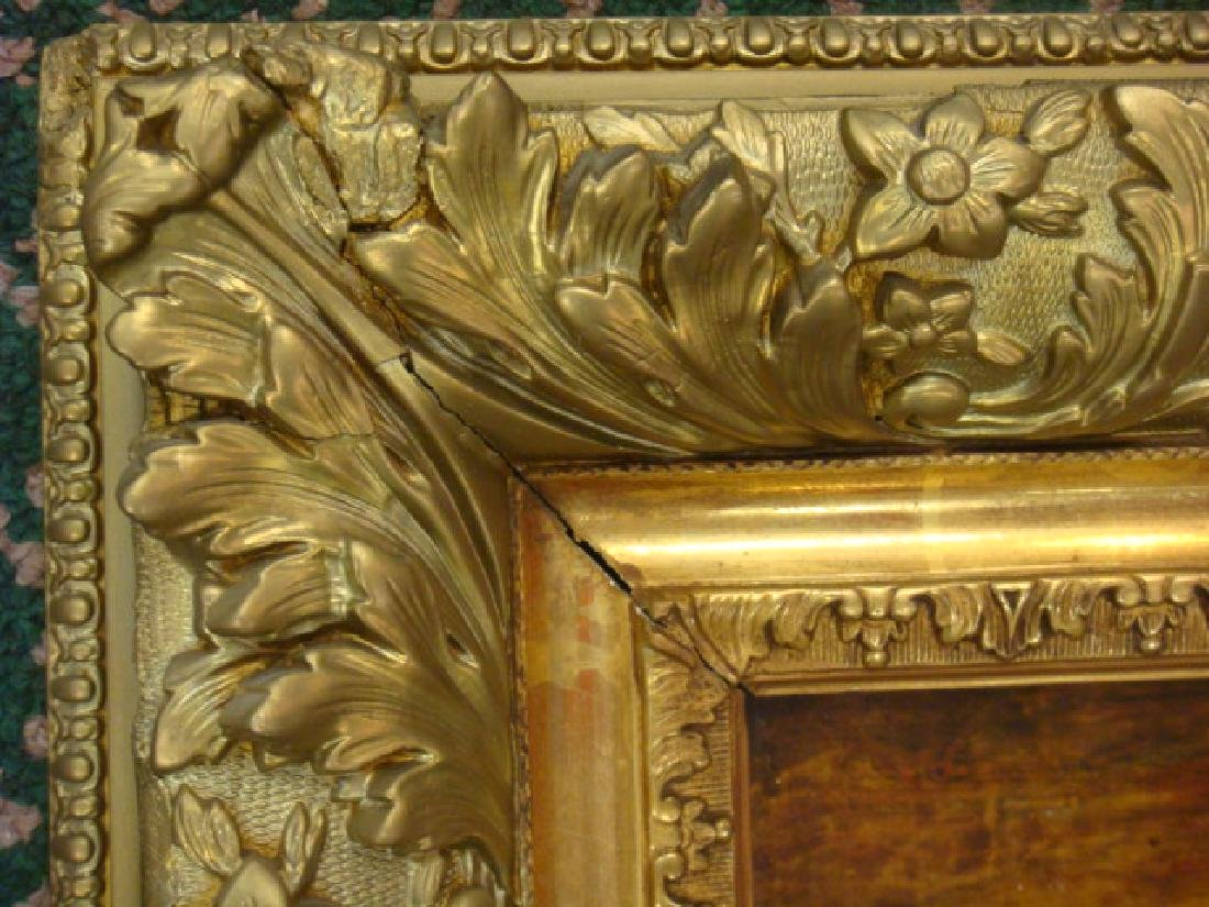 Elaborate Gold Frame with Landscape Mounted on Canvas: - 3