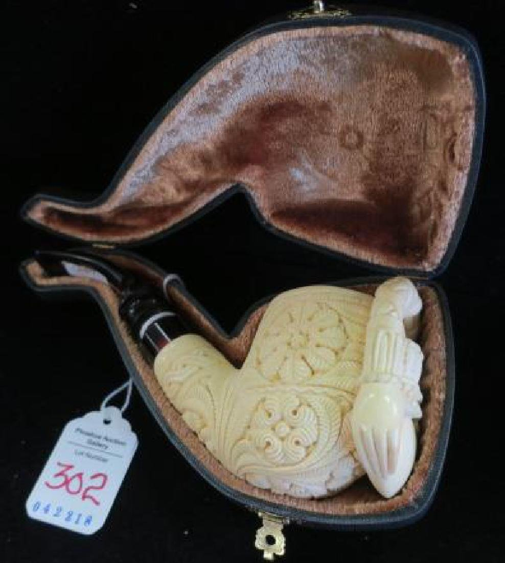 Sacred Heart Carved Meerschaum Pipe in Fitted Case: