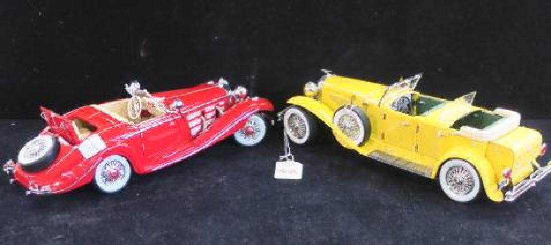 Red Mercedes 500K and Yellow Duesenberg SJ 1/18 Models
