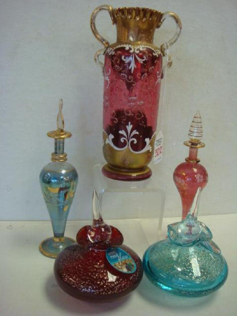 Bohemian Enamel Vase and Four Perfumes: