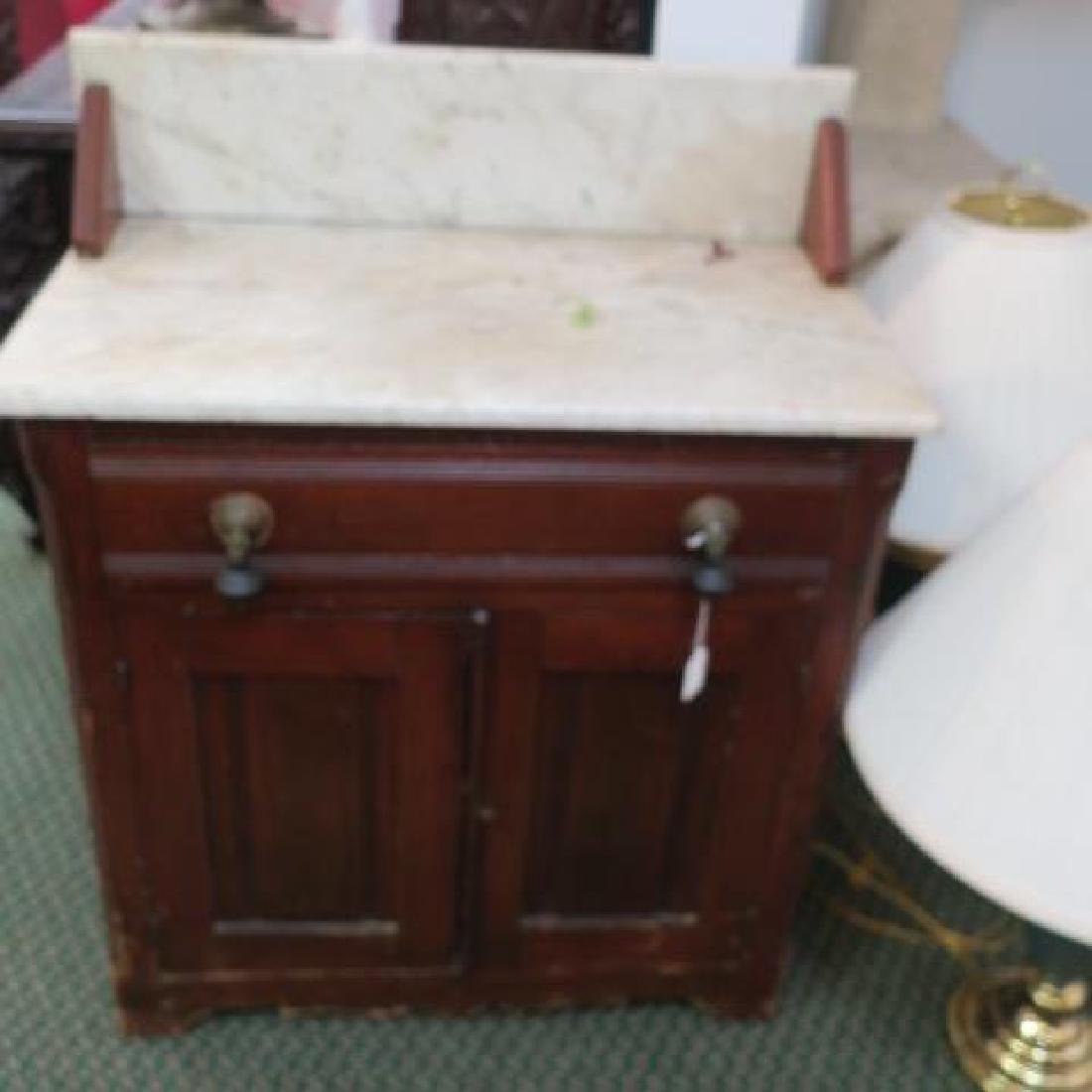 Marble Top Walnut Washstand: