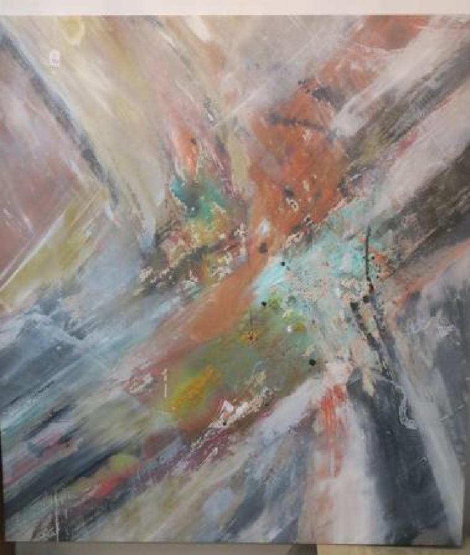 Large Contemporary Oil on Canvas Abstract Painting: