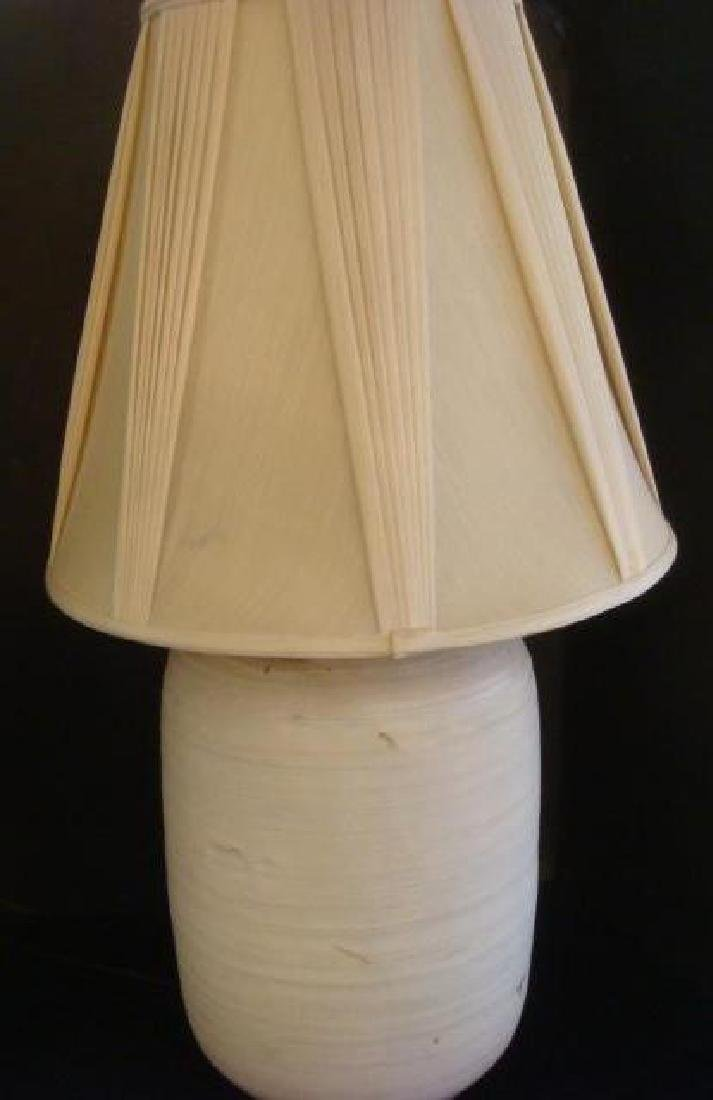 Pottery Vase Ceramic Lamp with Dimples and Shade: - 3