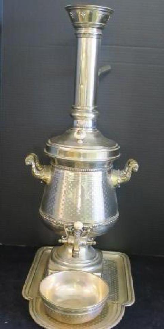 RARE Norbline & Co Warszawa Silver Plated Samovar: - 2