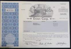 Scripophily; ENRON Stock Certificate, July 24, 2002: