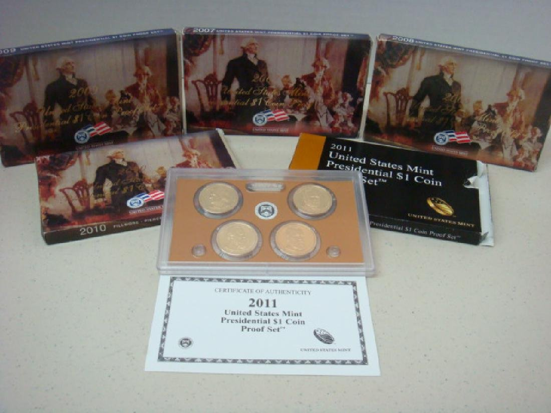 2007-2011 US MINT PRESIDENTIAL $1 COIN PROOF SETS (5):