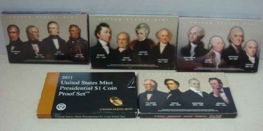 2007-2011 US MINT PRESIDENTIAL $1 COIN PROOF SETS (5): - 3