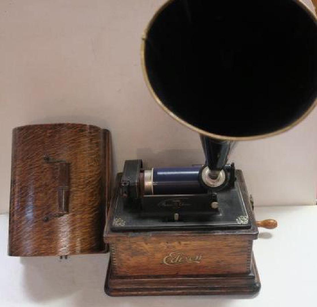 "EDISON FIRESIDE PHONOGRAPH Cylinder Player, 15"" Horn:"