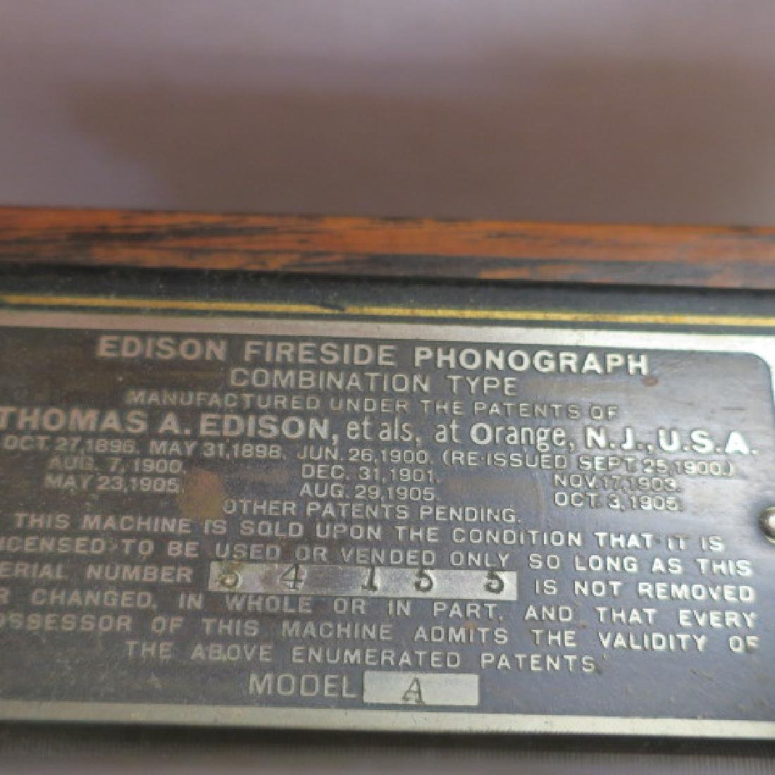 "EDISON FIRESIDE PHONOGRAPH Cylinder Player, 15"" Horn: - 3"
