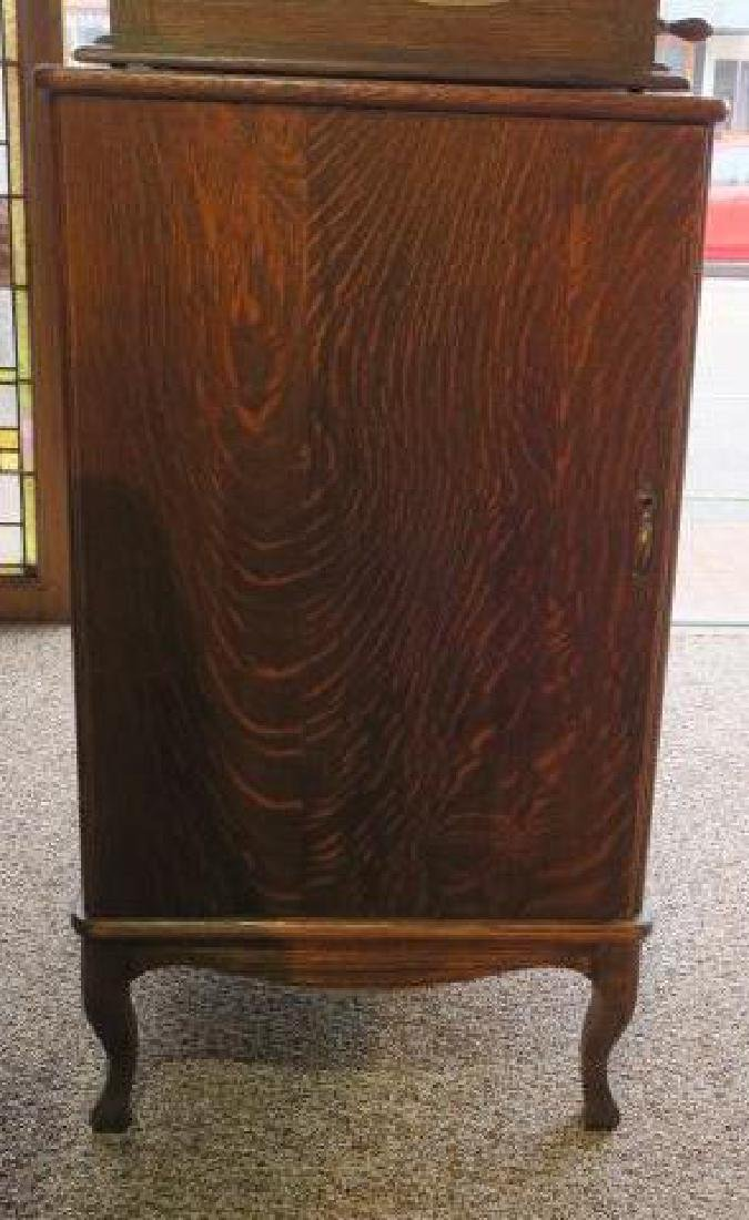 Tiger Oak Music Cabinet w/119 Edison Wax Cylinders: