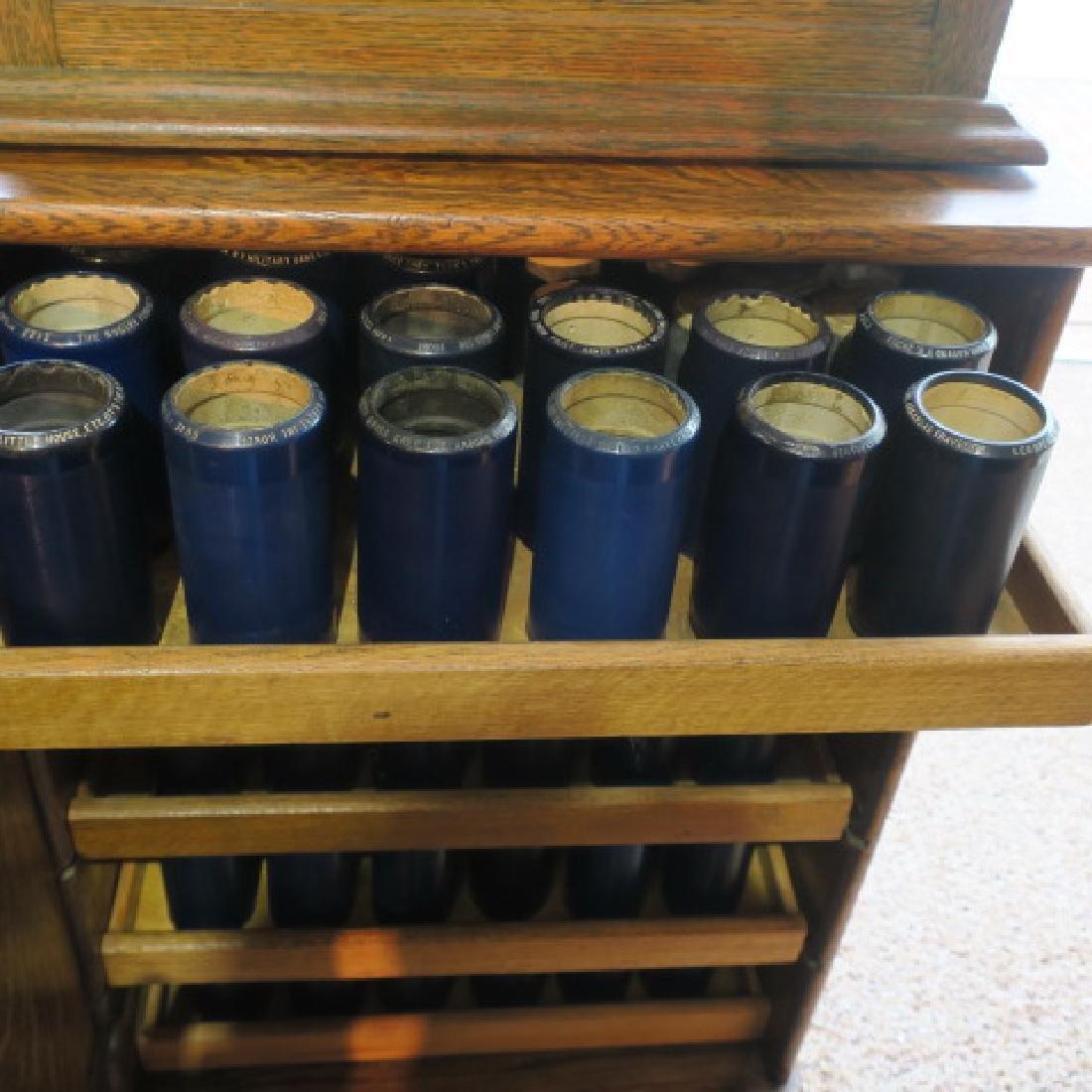 Tiger Oak Music Cabinet w/119 Edison Wax Cylinders: - 2