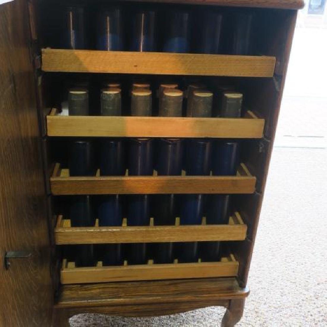 Tiger Oak Music Cabinet w/119 Edison Wax Cylinders: - 4