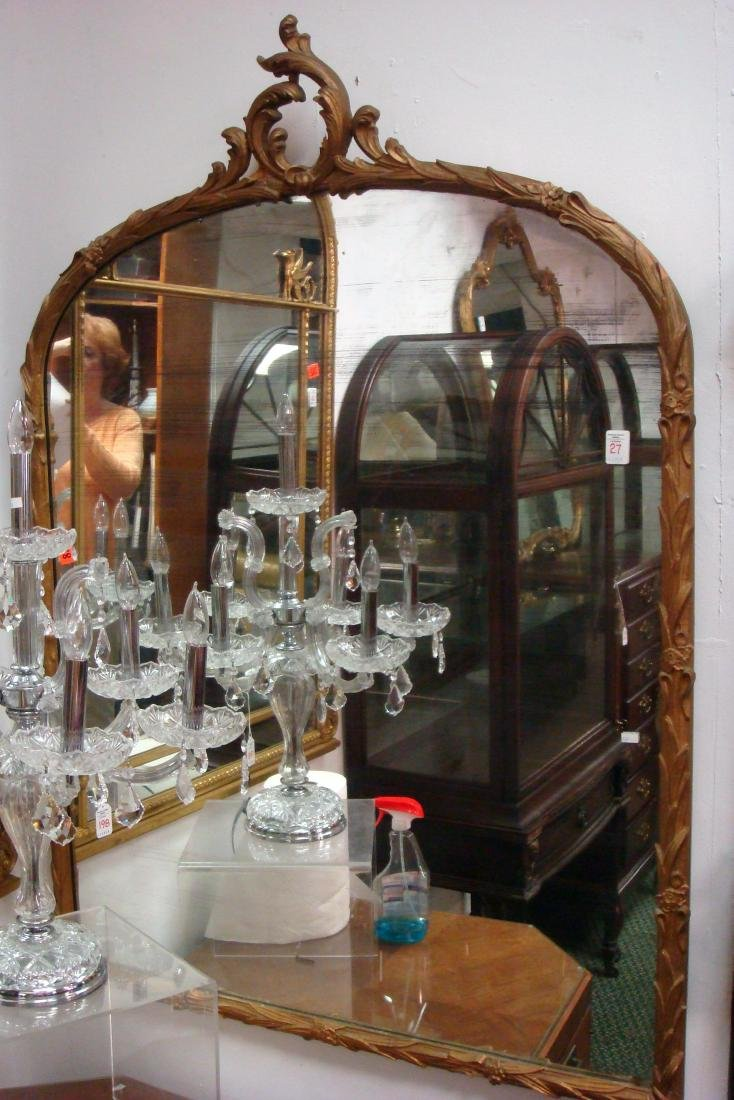 Shaped Arch Top Framed Decorative Wall Mirror: