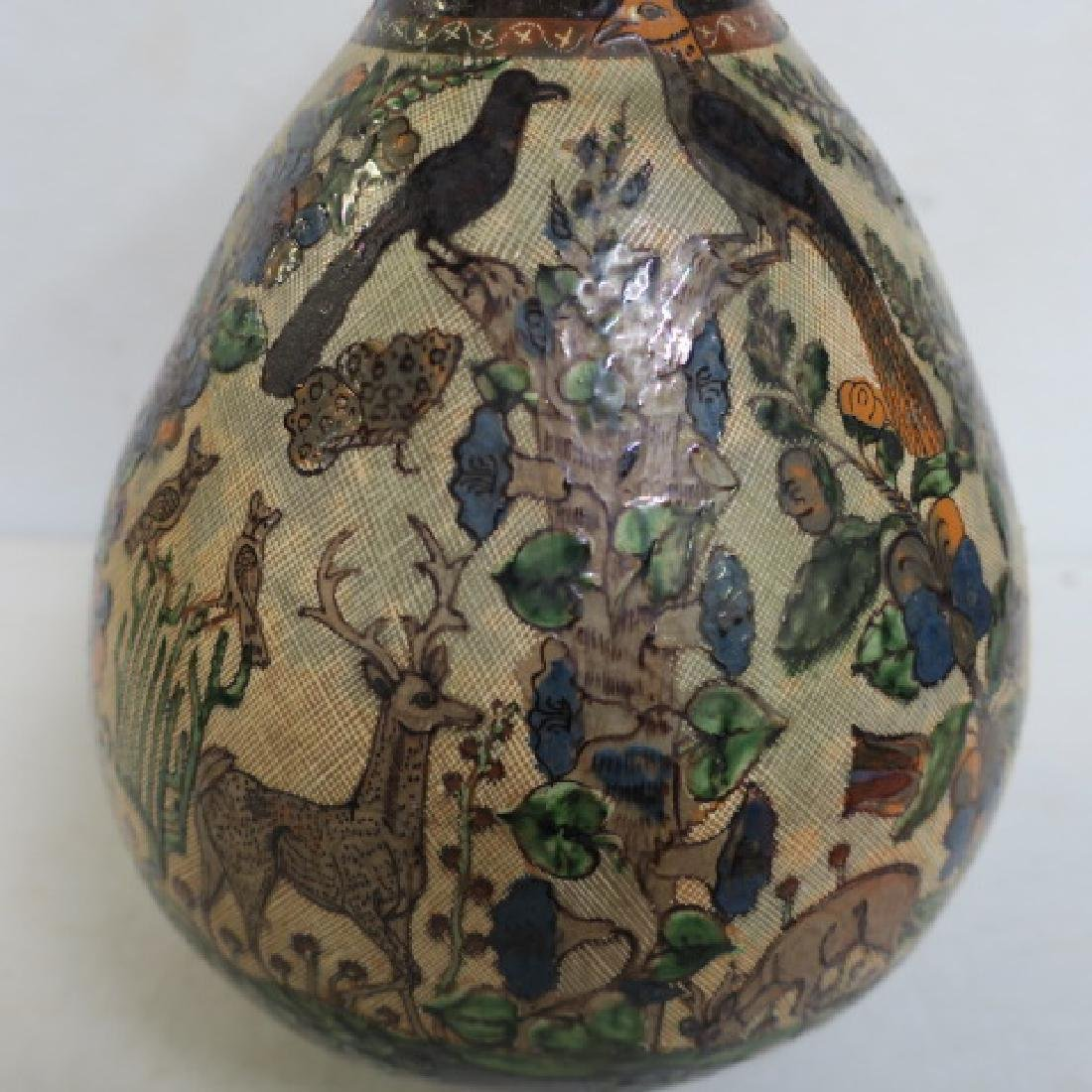 Hand Painted Long Neck Bulbous Vase: - 2