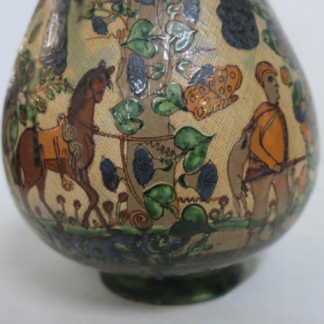 Hand Painted Long Neck Bulbous Vase: - 4