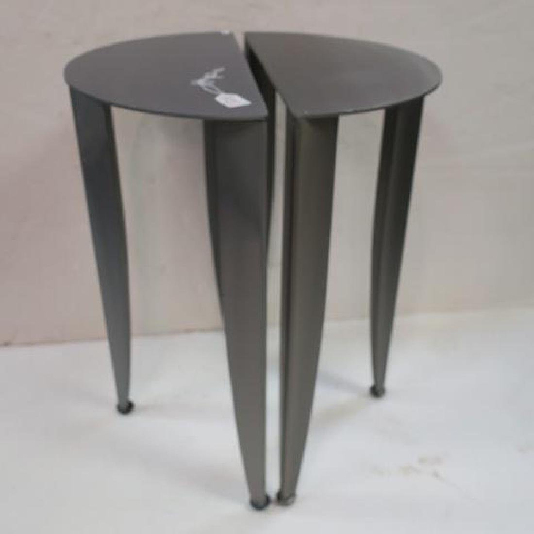 Pair of Petite Steel Industrial Demi-Lune Tables: