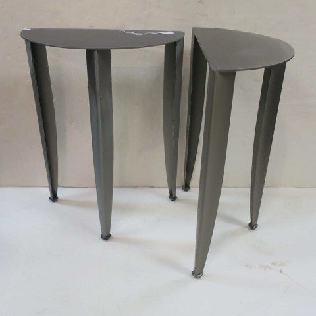 Pair of Petite Steel Industrial Demi-Lune Tables: - 2