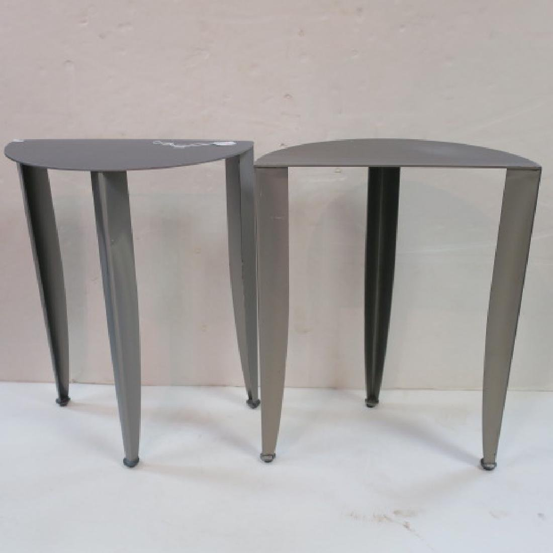 Pair of Petite Steel Industrial Demi-Lune Tables: - 4