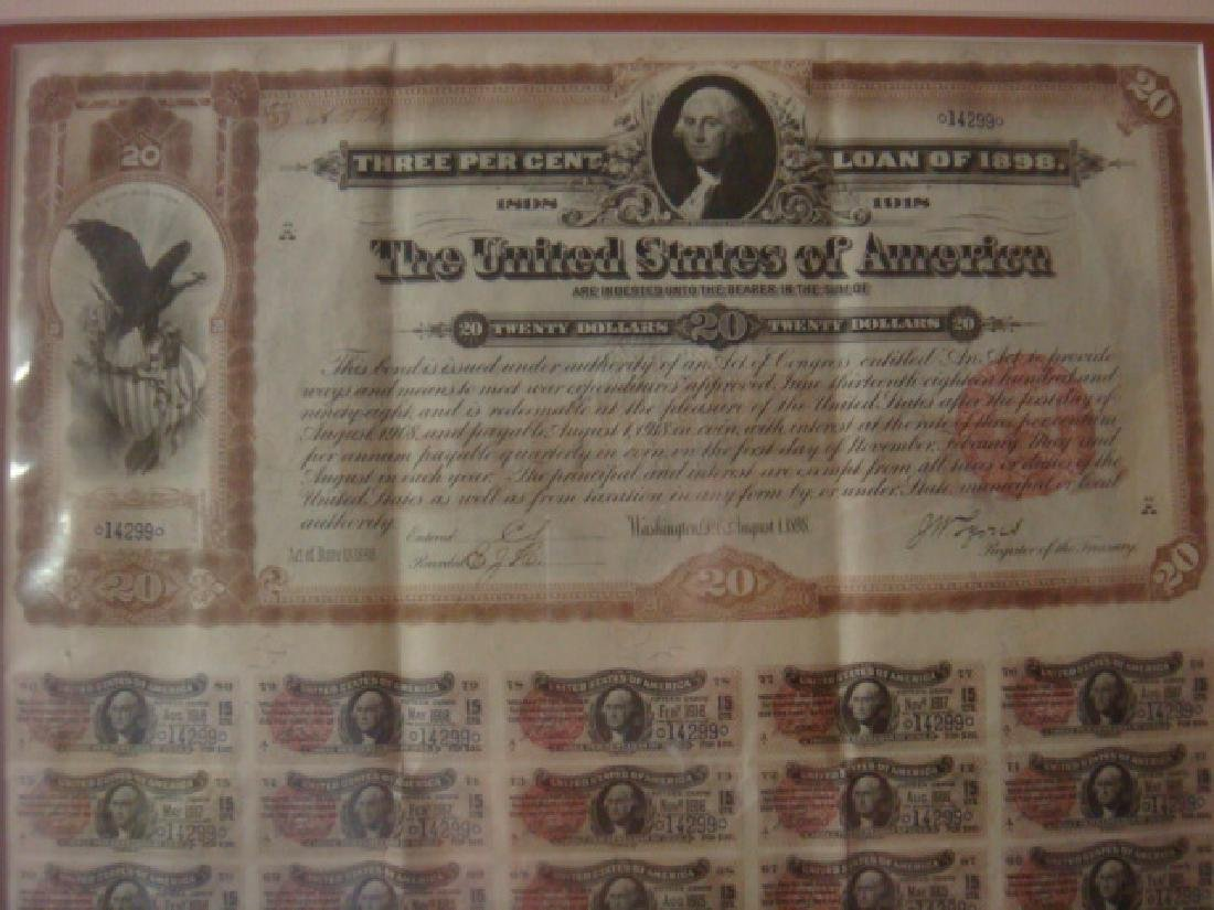 1898 3% UNITED STATES OF AMERICA BOND with GOLD COINS - 4