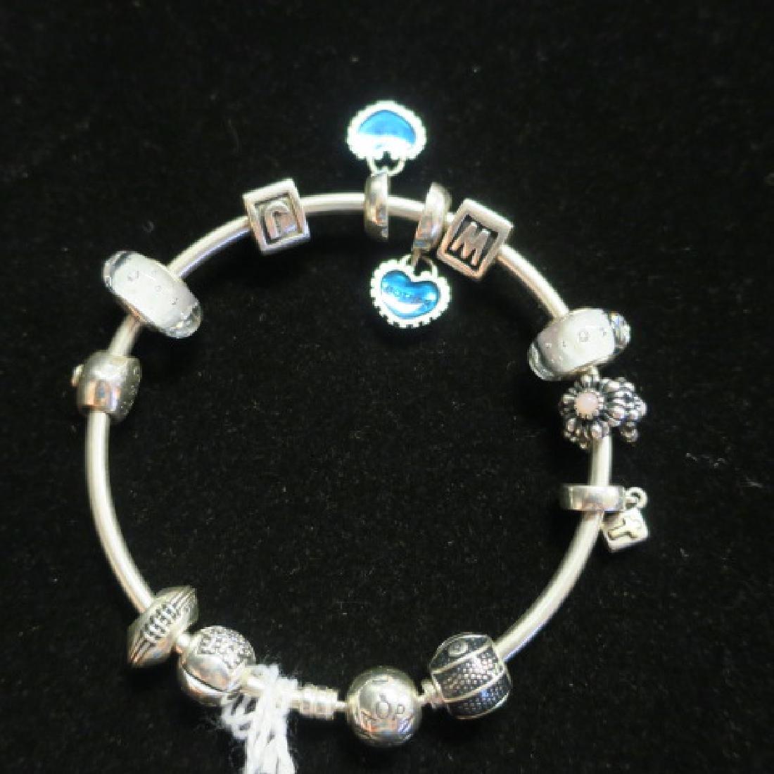 Hand Finished Bangle PANDORA Bracelet with Charms: