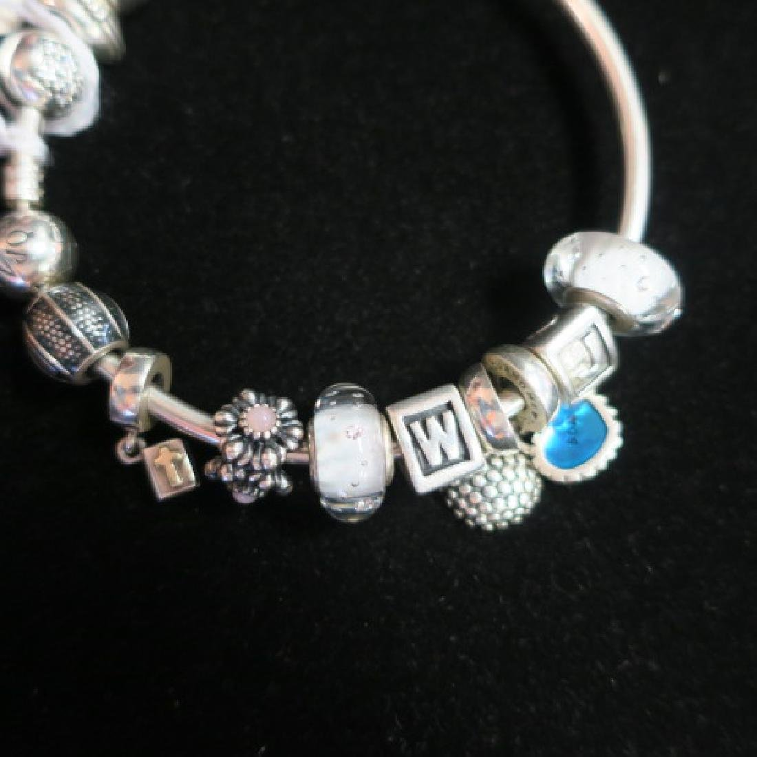 Hand Finished Bangle PANDORA Bracelet with Charms: - 2