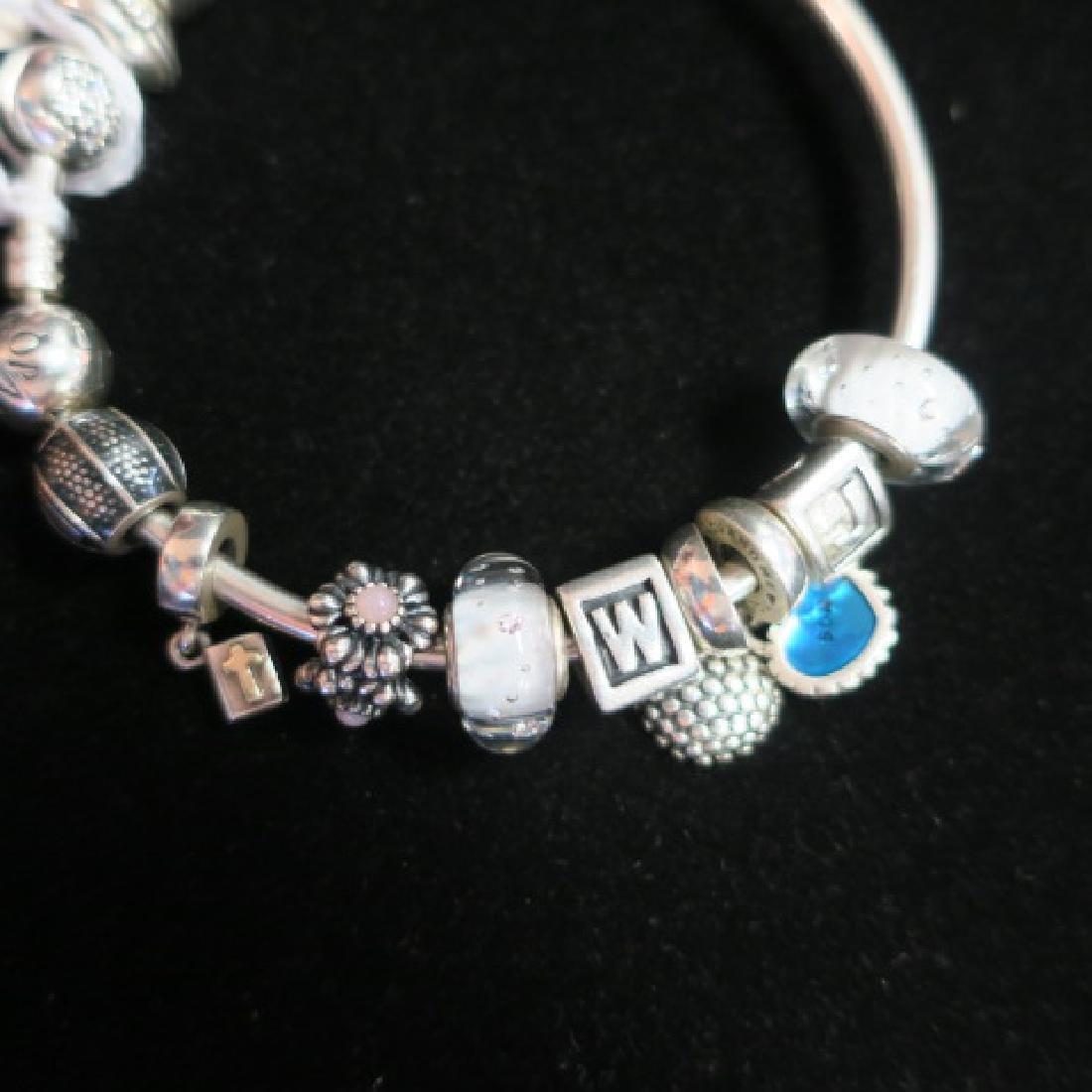 Hand Finished Bangle PANDORA Bracelet with Charms: - 2