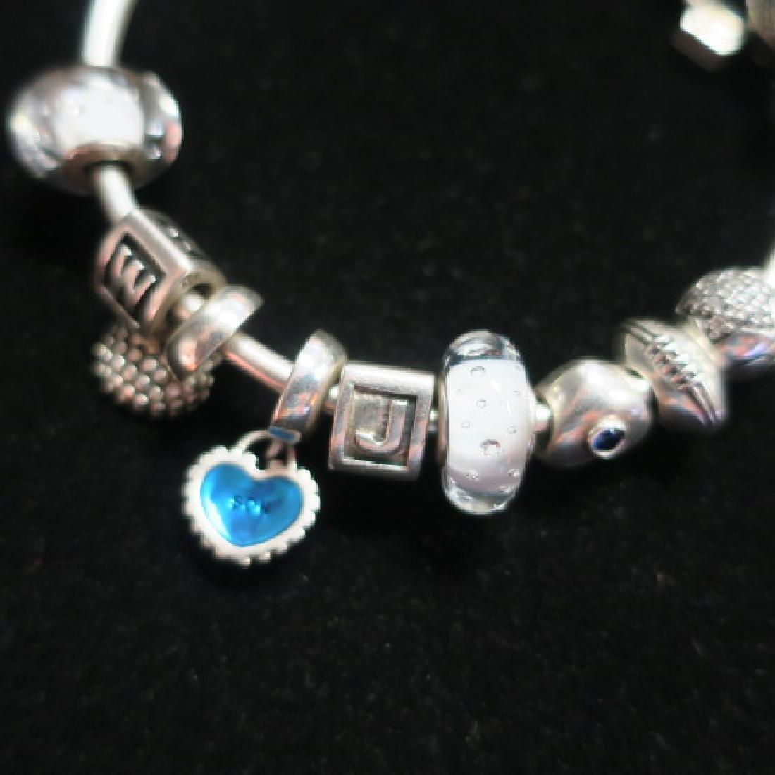 Hand Finished Bangle PANDORA Bracelet with Charms: - 3
