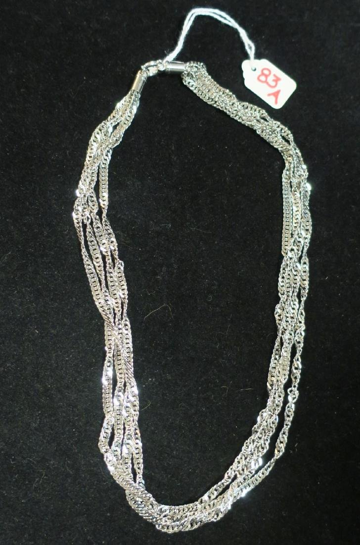 18KT White Gold Multi Strand Necklace: