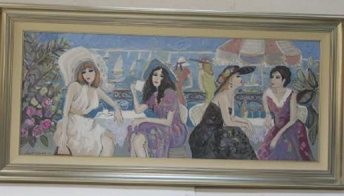 """ISAAC MAIMON Oil on Canvas """"Bonjour"""":"""