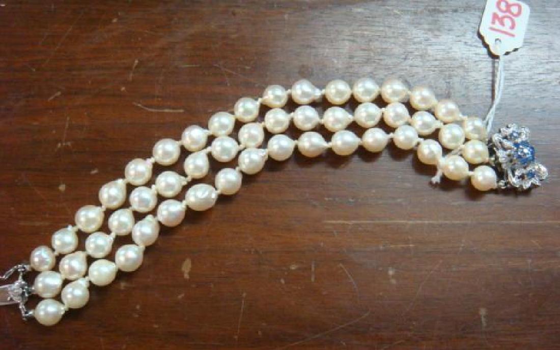 Triple Strand Freshwater Pearl Bracelet: - 2