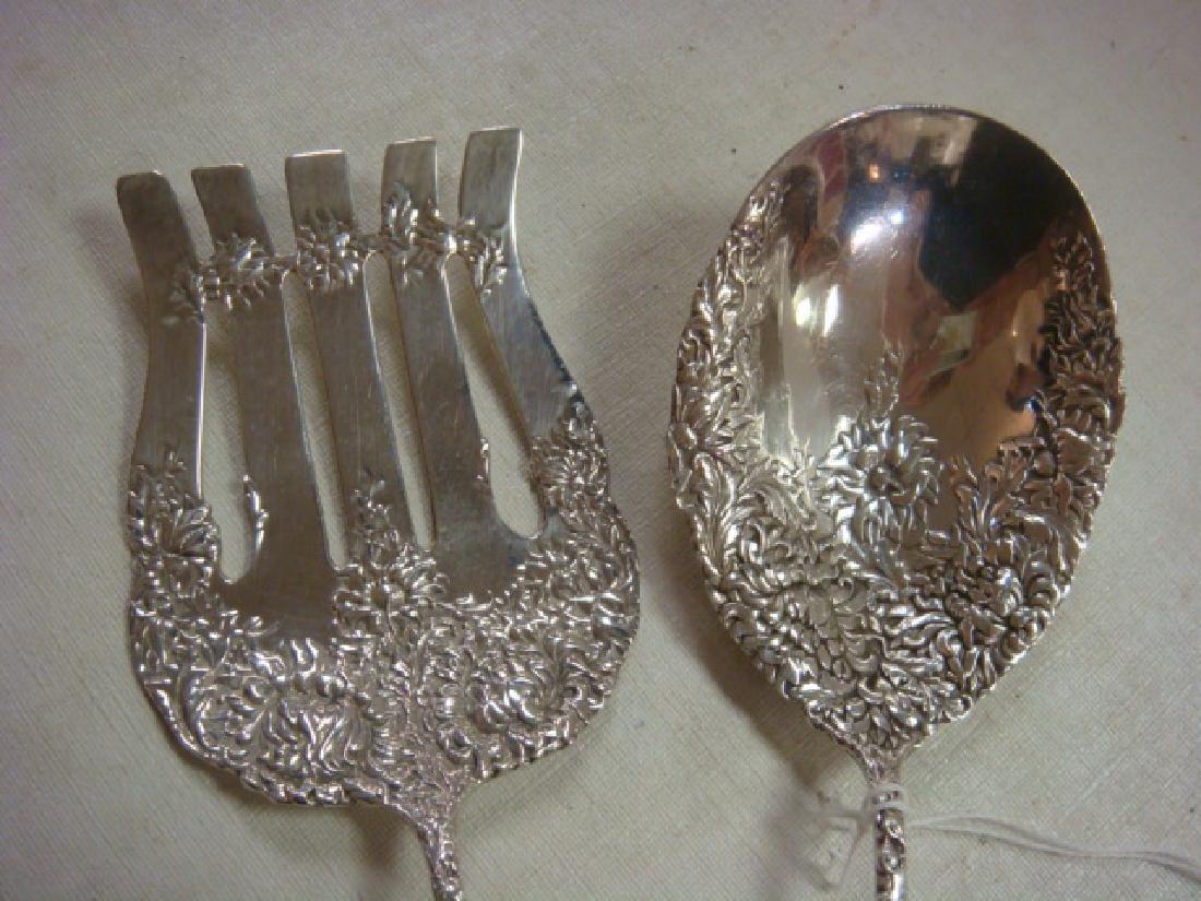 Antique Sterling Silver Asparagus Fork, Serving Spoon: - 2