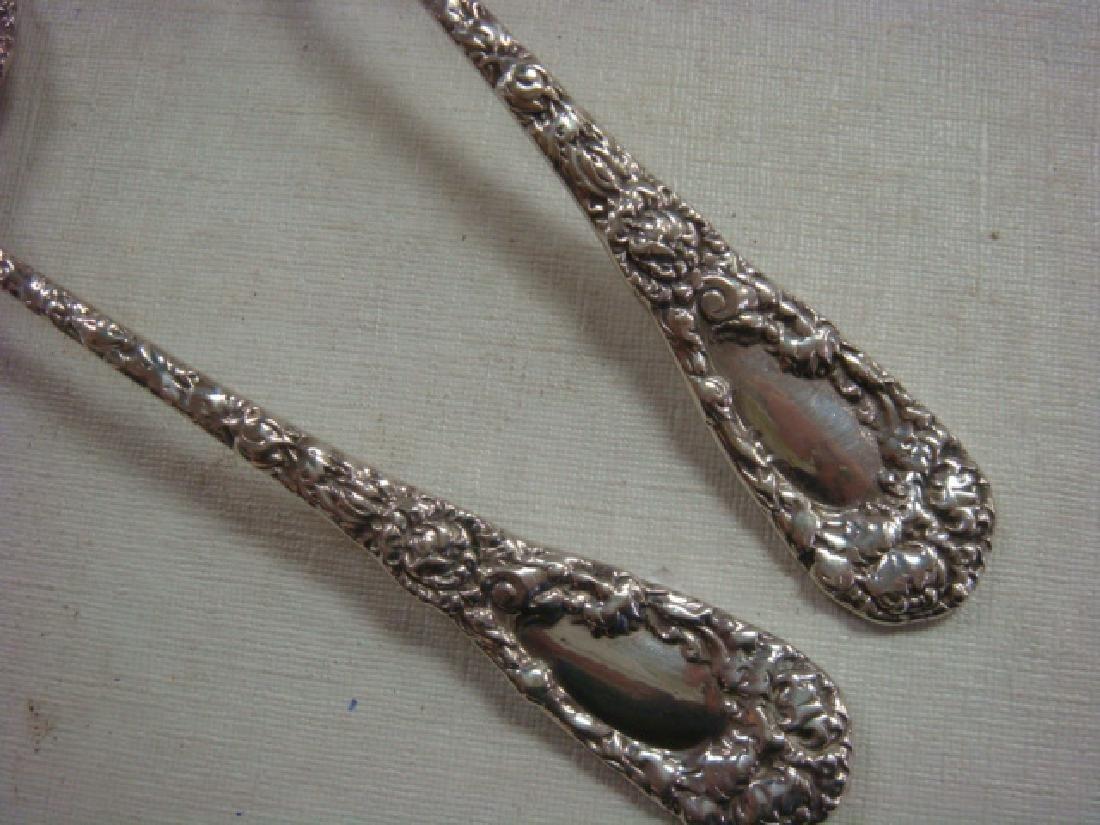 Antique Sterling Silver Asparagus Fork, Serving Spoon: - 3