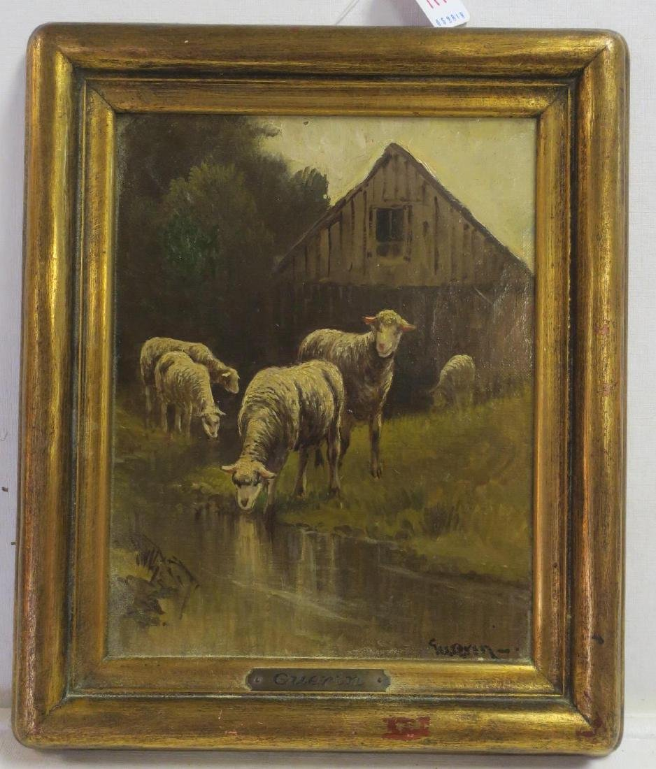 Flock of Sheep Oil on Canvas Signed GUERIN:
