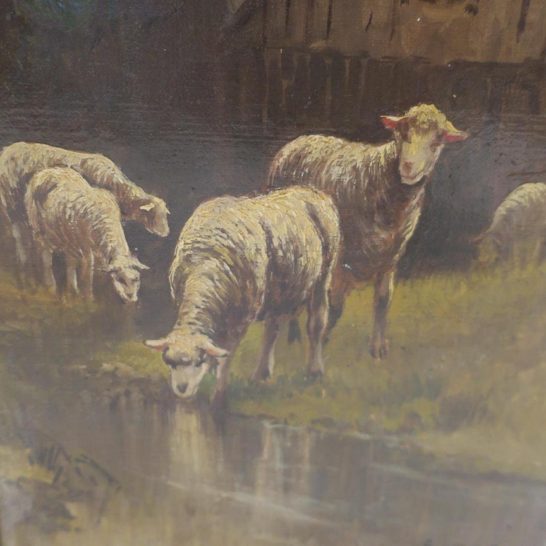 Flock of Sheep Oil on Canvas Signed GUERIN: - 2