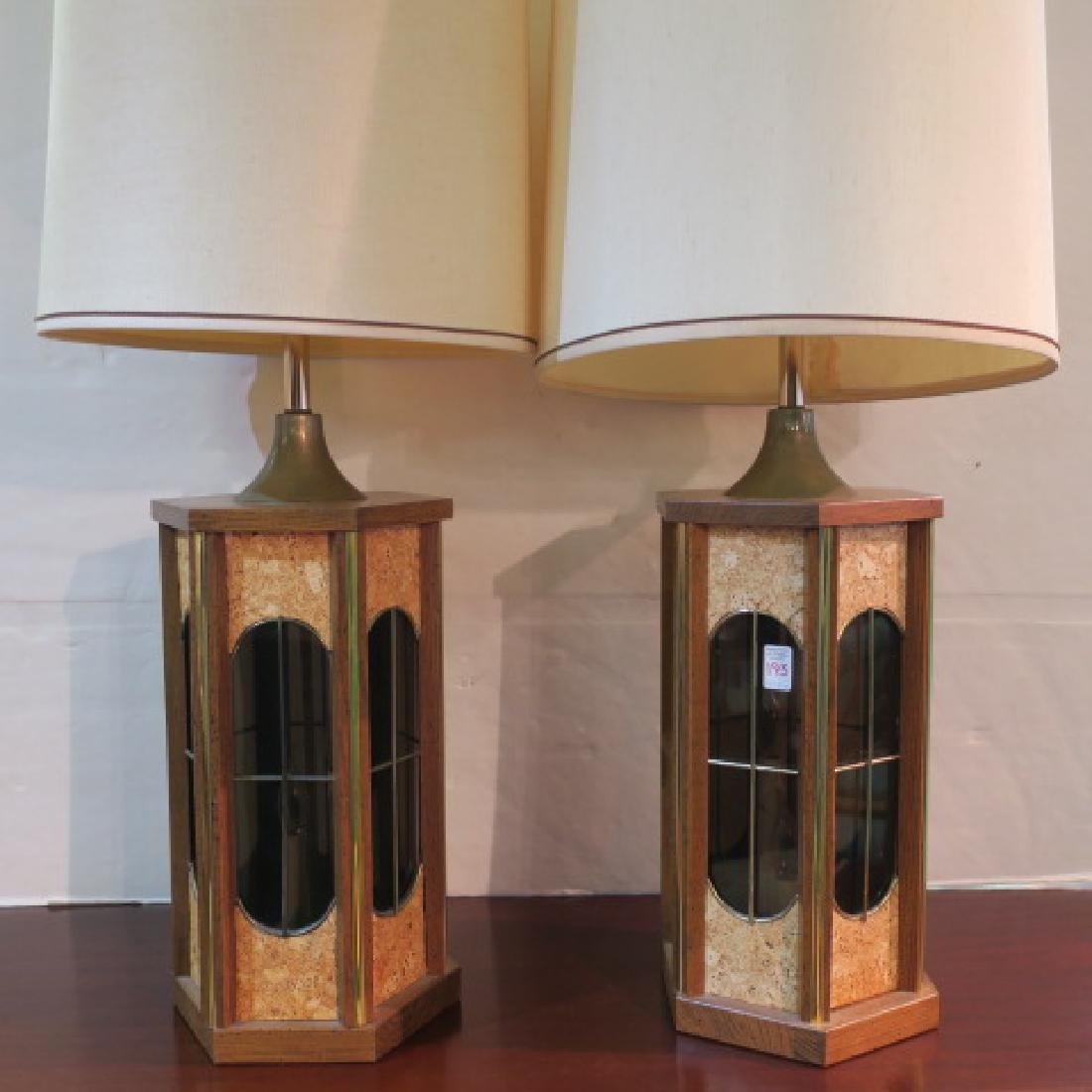 Pair of Table Lamps with Candlestick Bases: