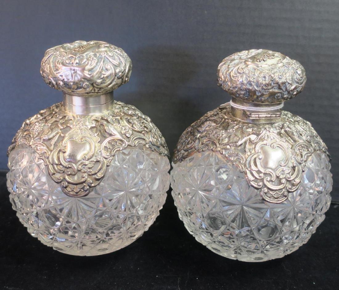 Pair of Antique Sterling/Cut Glass Dresser Bottles: