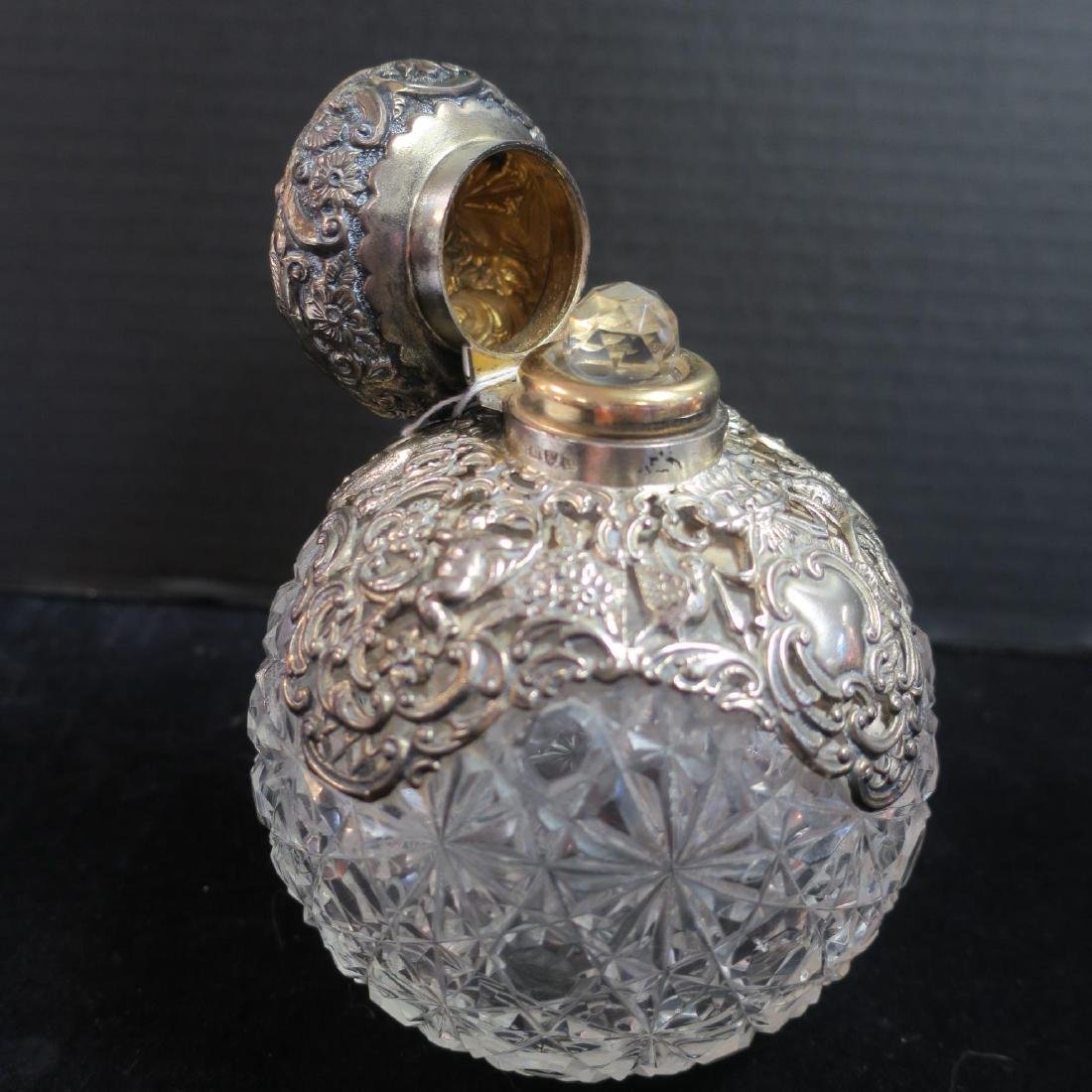 Pair of Antique Sterling/Cut Glass Dresser Bottles: - 3