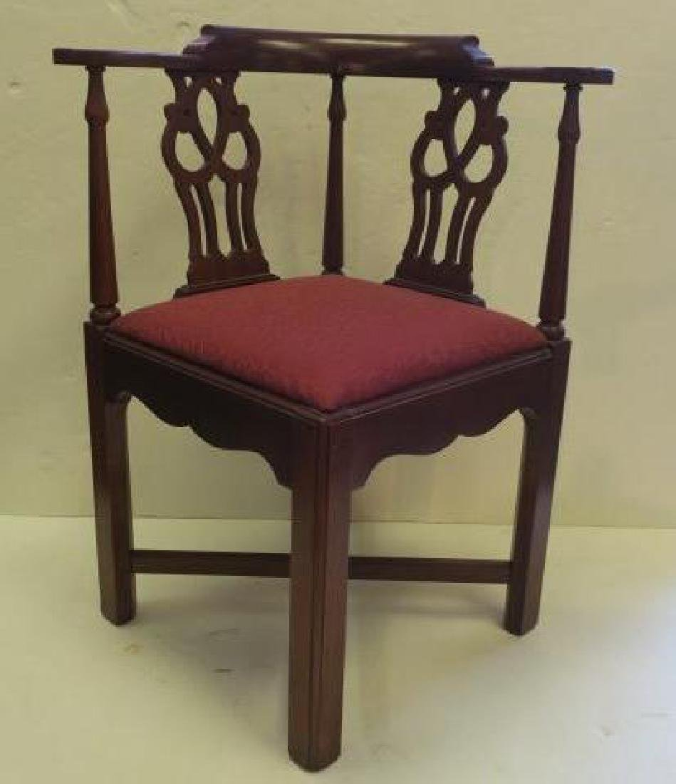 Mahogany Chippendale Style Corner Chair: